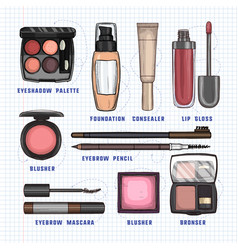 color of makeup products vector image