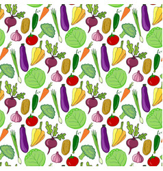 colorful vegetables hand drawn seamless pattern vector image