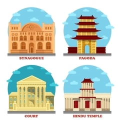 Court of law and religion temple pagoda vector