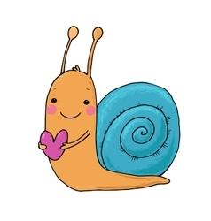 Cute cartoon snail with heart vector