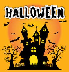 cute halloween silhouette castle vector image