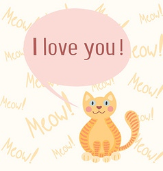 Cute romantic background with cat vector image