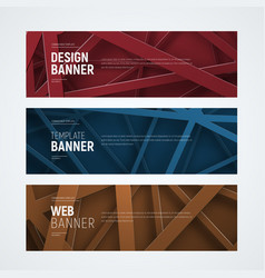 Design of web banners with intersecting lines on vector