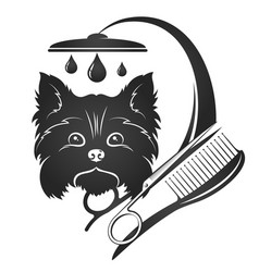 Dog grooming and washing vector