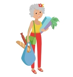 Elderly woman carrying bags vector