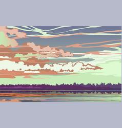 Evening sunset landscape on river vector