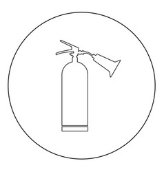 fire extinguisher icon black color in circle vector image