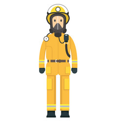 fire fighter on duty wearing a mask vector image