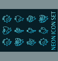 fish set icons blue glowing neon style vector image