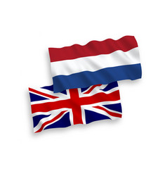 flags great britain and netherlands on a white vector image