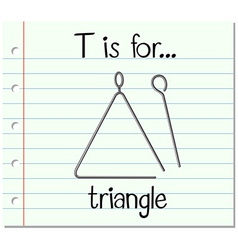 Flashcard letter T is for triangle vector