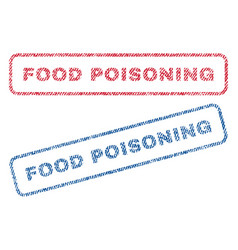Food poisoning textile stamps vector