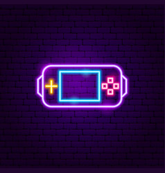 Gamer console neon sign vector