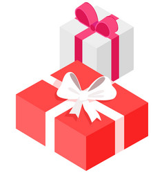 gift wraps on boxes with decoration holiday vector image