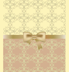 gold bow on ornament background vector image