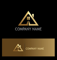 gold triangle roof house logo vector image