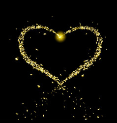 Golden heart flying particles vector