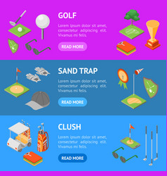 golf game equipment banner horizontal set vector image