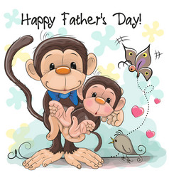 Greeting card two monkeys a father and a baby vector