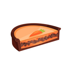 half of layered pie with chocolate and carrot vector image