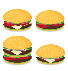 Hamburger flat design set vector