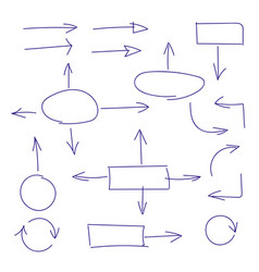 hand drawn set of arrows and block schemes vector image