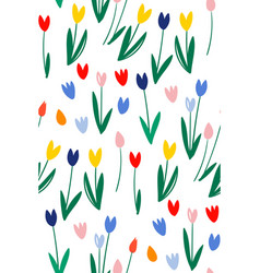 hand drawn tulip seamless pattern for background vector image
