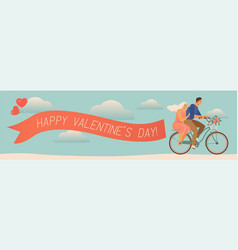 Happy couple is riding a bicycle together and vector