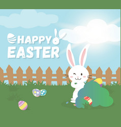 happy easter greeting cardcute bunny vector image