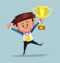 happy smiling little boy winner holds golden cup vector image