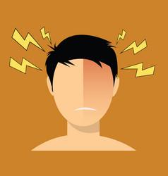 Headache migraine men with red head vector