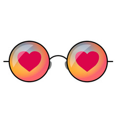 hipster sunglasses with heart vector image