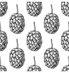Hop seamless patternBlack hand drawn vector image