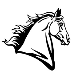 Horse head profile black white vector