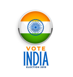Indian flag label for election 2019 vector