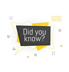 Interesting facts bubble symbol banner or sicker vector