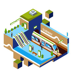 Isometric subway station concept vector