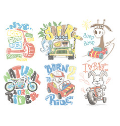 kids t-shirt designs set cartoon vector image