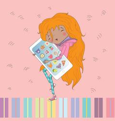 Little girl smart phone vector image