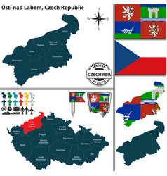 map of usti nad labem czech republic vector image vector image