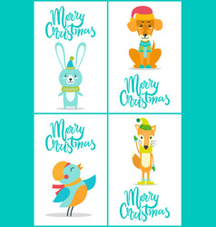 merry christmas animals on vector image