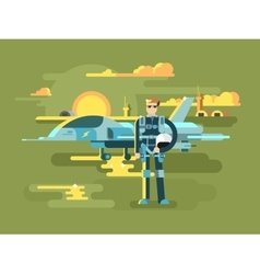 Military pilot man vector image