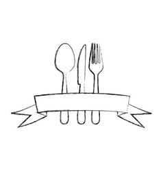 Monochrome blurred contour of cutlery with ribbon vector