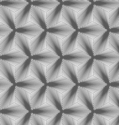 Monochrome gradually striped black three ray stars vector image