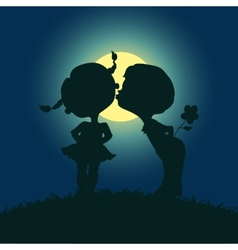 Moonlight silhouettes kissing boy and girl vector