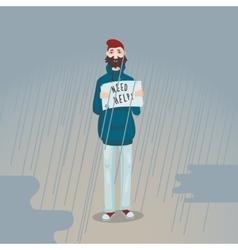 Need help Sad man is standing in the rain vector