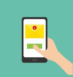 new message sign symbol unread notification hand vector image