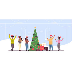 people celebrating merry christmas and happy new vector image