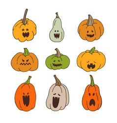 Pumpkins with spooky faces vector