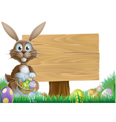 Rabbit and easter sign vector